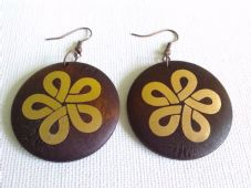 Wooden earrings with gold foil design